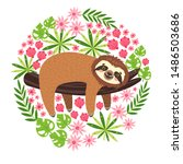 sleeping sloth on the branch.... | Shutterstock .eps vector #1486503686