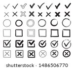 doodle check marks. hand drawn... | Shutterstock .eps vector #1486506770