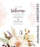 moody boho chic wedding vector... | Shutterstock .eps vector #1486520933
