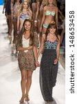 Small photo of MIAMI - JULY 21: Designers Manuella Sierra and Amalia Sierra are walking the runway at Maaji for 2014 collection during Mercedes-Benz Fashion Week Swim on July 21, 2013 in Miami
