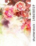 Romantic Pink Roses Vintage...