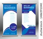 modern banner roll up. vertical ... | Shutterstock .eps vector #1486591040