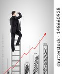 businessman climbing on ladder... | Shutterstock . vector #148660928