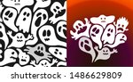 halloween set   cute ghosts... | Shutterstock .eps vector #1486629809