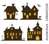 Stock vector haunted house dark silhoutte vector 1486642130