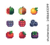 Fruits Pixel Art Icons Set ...