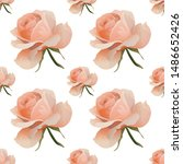 pink rose. vector illustration. ... | Shutterstock .eps vector #1486652426