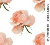 pink rose. vector illustration. ... | Shutterstock .eps vector #1486653803