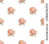 pink rose. vector illustration. ... | Shutterstock .eps vector #1486656353