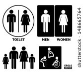 Black And White Toilet Sign...