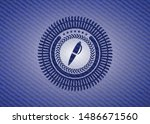 pen icon inside badge with... | Shutterstock .eps vector #1486671560
