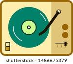 retro vinyl record player in...