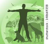 man's silhouette on the... | Shutterstock .eps vector #148669358