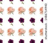 violet petunia. pink rose.... | Shutterstock .eps vector #1486714940