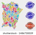 vector handmade collage of... | Shutterstock .eps vector #1486730039