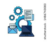 paper document file with gears...   Shutterstock .eps vector #1486743083