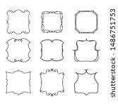set of vintage frames on white... | Shutterstock . vector #1486751753
