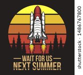 spacecraft sunset retro... | Shutterstock .eps vector #1486767800