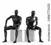 Two Black Plastic Mannequins...