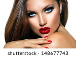 sexy beauty girl with red lips... | Shutterstock . vector #148677743