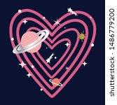 galaxy glitter sun polka star... | Shutterstock .eps vector #1486779200