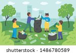 group of children cleaning up... | Shutterstock .eps vector #1486780589