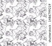 vector lotus floral botanical... | Shutterstock .eps vector #1486799219