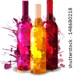 Group of wine bottles with grunge splashes. Red, rose and white.