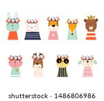 set of cute animals with floral ...   Shutterstock .eps vector #1486806986