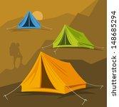 tourist tent in different ways. ... | Shutterstock .eps vector #148685294