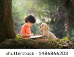 Asian Boy And Dog. Kid Read...