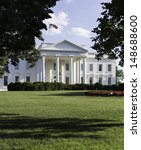 Small photo of Main entrance of White House at 1600 Pennsylvania Avenue Washington DC
