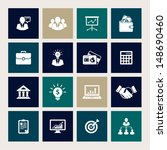 vector set of 16 business icons | Shutterstock .eps vector #148690460