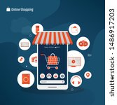 online mobile shopping and on... | Shutterstock .eps vector #1486917203
