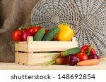 fresh vegetables in wooden box...   Shutterstock . vector #148692854