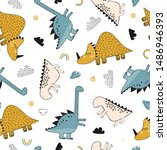 childish seamless pattern with... | Shutterstock .eps vector #1486946393