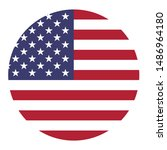 american flag icon circle... | Shutterstock .eps vector #1486964180