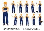 constarction worker. man in... | Shutterstock .eps vector #1486999313