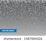 realistic falling snow with... | Shutterstock .eps vector #1487004326