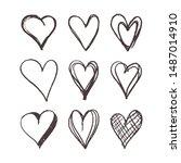 set heart shape hand drawn icon ... | Shutterstock .eps vector #1487014910