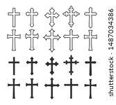 big set christian cross vector... | Shutterstock .eps vector #1487034386