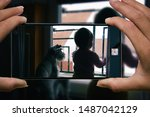 woman photographing on cell... | Shutterstock . vector #1487042129