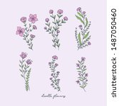 doodle flowers illustrations... | Shutterstock .eps vector #1487050460
