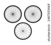 bicycle wheel icons set. bike... | Shutterstock .eps vector #1487053469