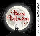 hand drawn happy halloween... | Shutterstock .eps vector #1487064143