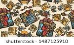 mayan alphabet seamless pattern.... | Shutterstock .eps vector #1487125910