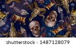 embroidery golden crown  skulls ... | Shutterstock .eps vector #1487128079