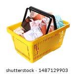 shopping basket full of gift...   Shutterstock . vector #1487129903