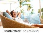 Sofa Woman Relaxing Enjoying...