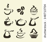 isolates coffee icons | Shutterstock .eps vector #148713704